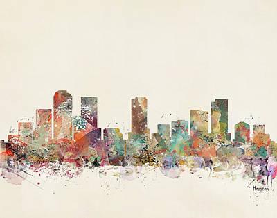 Colourfull Painting - Houston City by Bleu Bri