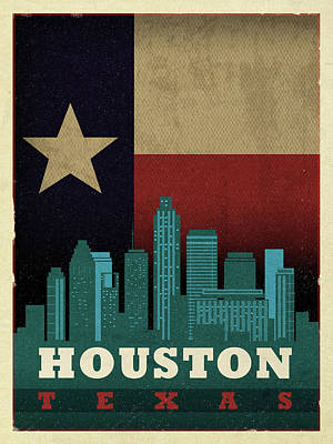 Skyline Mixed Media - Houston City Skyline State Flag Of Texas Art Poster Series 013 by Design Turnpike