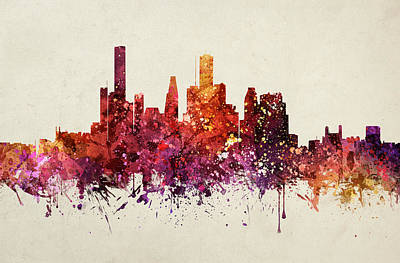 Skylines Drawings - Houston Cityscape 09 by Aged Pixel