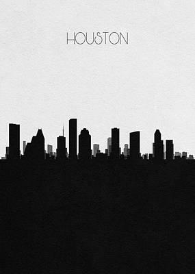 Digital Art - Houston Cityscape Art by Inspirowl Design