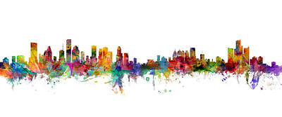 Detroit Wall Art - Digital Art - Houston Detroit Skylines Mashup by Michael Tompsett