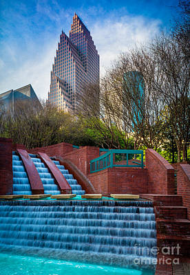 Streetlight Photograph - Houston Fountain by Inge Johnsson