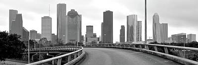 Photograph - Houston Pano In Grayscale by Frozen in Time Fine Art Photography