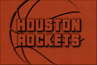 Houston Rockets Leather Art Art Print by Joe Hamilton