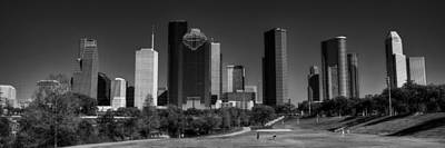 Photograph - Houston Skyline 001 Bw by Lance Vaughn