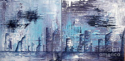 Painting - Houston Skyline 1 And 2 by Tamyra Crossley