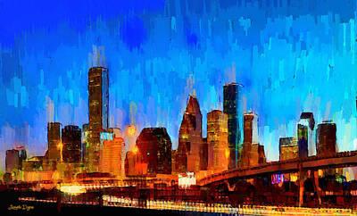 United States Of America Painting - Houston Skyline 101 - Pa by Leonardo Digenio