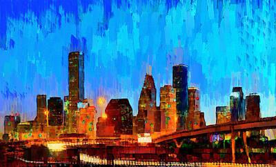 States Digital Art - Houston Skyline 102 - Da by Leonardo Digenio
