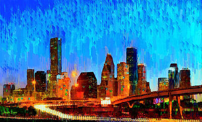 Scenes Digital Art - Houston Skyline 110 - Da by Leonardo Digenio