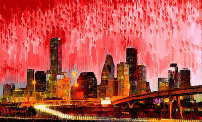 Highway Digital Art - Houston Skyline 113 - Da by Leonardo Digenio
