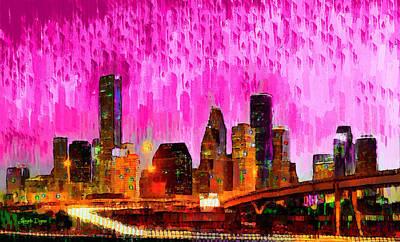 Tall Painting - Houston Skyline 114 - Pa by Leonardo Digenio