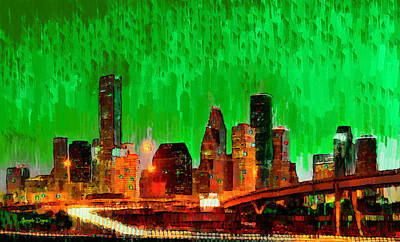 Texas Painting - Houston Skyline 115 - Pa by Leonardo Digenio