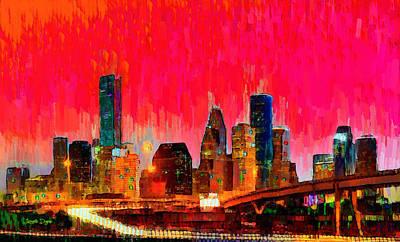 Houston Painting - Houston Skyline 117 - Da by Leonardo Digenio