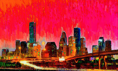 Houston Skyline 117 - Pa Art Print by Leonardo Digenio