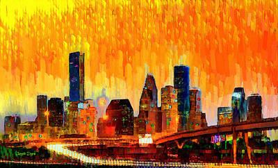 Evening Digital Art - Houston Skyline 118 - Da by Leonardo Digenio