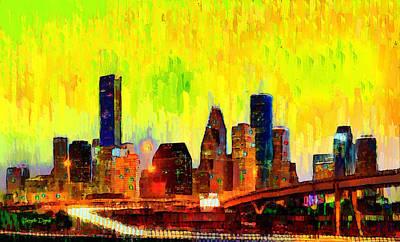 Structures Digital Art - Houston Skyline 120 - Da by Leonardo Digenio