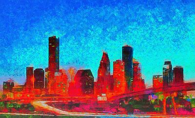 Colorful Painting - Houston Skyline 131 - Pa by Leonardo Digenio