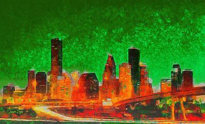 Roads Painting - Houston Skyline 133 - Da by Leonardo Digenio