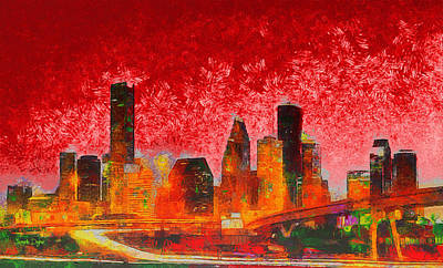 Houston Skyline 134 - Da Art Print by Leonardo Digenio