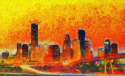 Tower Bridge Painting - Houston Skyline 135 - Pa by Leonardo Digenio