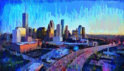 Street Digital Art - Houston Skyline 20 - Da by Leonardo Digenio