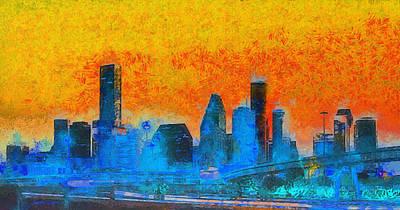 Office Painting - Houston Skyline 41 - Pa by Leonardo Digenio