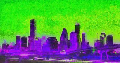 Light Digital Art - Houston Skyline 43 - Da by Leonardo Digenio