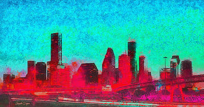 Lit Painting - Houston Skyline 44 - Pa by Leonardo Digenio