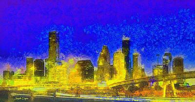 Avenue Digital Art - Houston Skyline 45 - Da by Leonardo Digenio