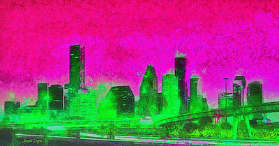 Bridges Painting - Houston Skyline 46 - Pa by Leonardo Digenio