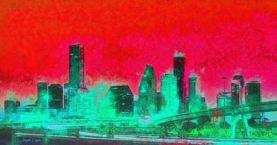 Famous Digital Art - Houston Skyline 47 - Da by Leonardo Digenio