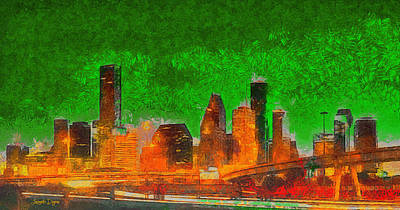 Avenue Painting - Houston Skyline 48 - Pa by Leonardo Digenio
