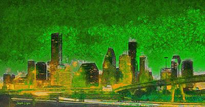 Office Digital Art - Houston Skyline 49 - Da by Leonardo Digenio