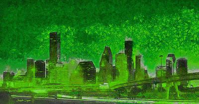 Avenue Painting - Houston Skyline 51 - Pa by Leonardo Digenio