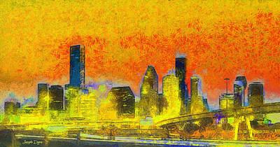 Tall Digital Art - Houston Skyline 52 - Da by Leonardo Digenio