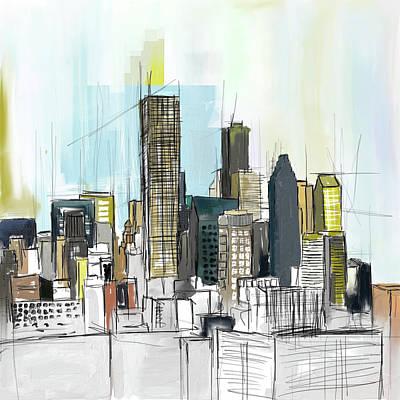 Liberty Painting - Houston Skyline 652 1 by Mawra Tahreem