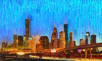 Financial Digital Art - Houston Skyline 80 - Da by Leonardo Digenio