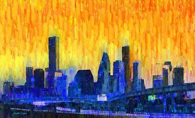 Roads Digital Art - Houston Skyline 82 - Da by Leonardo Digenio