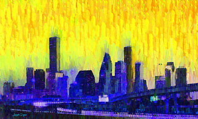 Highway Digital Art - Houston Skyline 83 - Da by Leonardo Digenio
