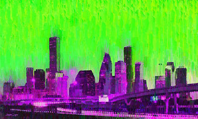 Houston Skyline 85 - Pa Art Print by Leonardo Digenio