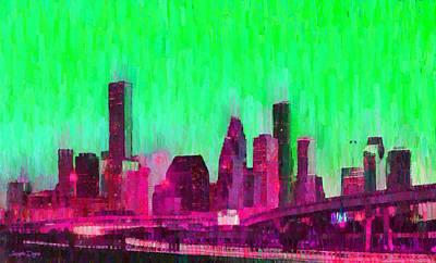 Office Painting - Houston Skyline 86 - Pa by Leonardo Digenio