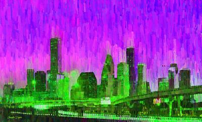 Streets Digital Art - Houston Skyline 89 - Da by Leonardo Digenio