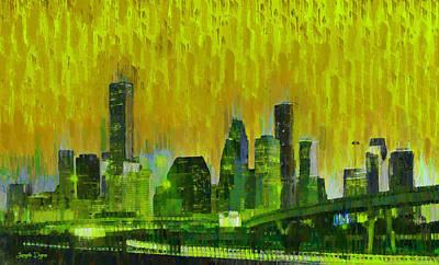 Tall Digital Art - Houston Skyline 92 - Da by Leonardo Digenio