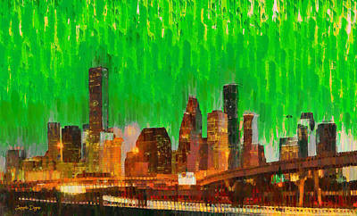States Painting - Houston Skyline 94 - Pa by Leonardo Digenio