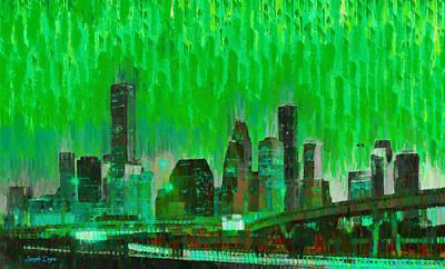 Evening Digital Art - Houston Skyline 96 - Da by Leonardo Digenio