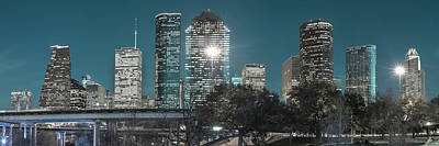 City Scene Photograph - Houston Skyline At Dusk - Shades Of Blue - Panoramic Cityscape Image by Gregory Ballos