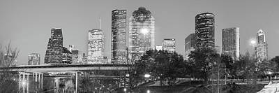 City Scenes Photograph - Houston Skyline At Dusk In Black And White - Panoramic Cityscape Image by Gregory Ballos