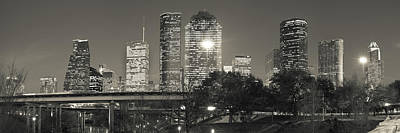 Photograph - Houston Skyline At Dusk In Sepia - Panoramic Cityscape Image by Gregory Ballos