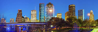 Photograph - Houston Skyline At Dusk - Panoramic Cityscape Image by Gregory Ballos