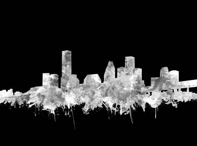 Painting - Houston Skyline Black And White 2 by Bekim Art